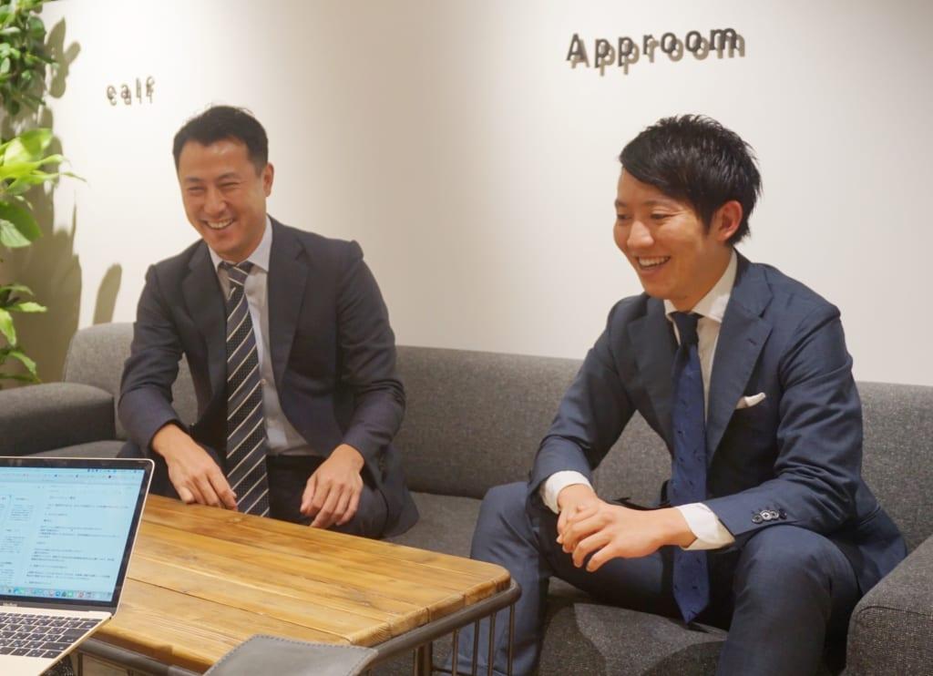 株式会社アップルハウスの鈴木優平(すずき ゆうへい)代表と、株式会社Core Managementの石田渉(いしだ わたる)代表